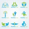 Blue and green Healthy logo vector set design