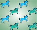 Blue and green horses vector background pattern seamless Stock Photos