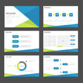 Blue green polygon presentation templates Infographic elements flat design set for brochure flyer leaflet marketing