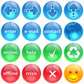 Blue, green and red buttons collection set Royalty Free Stock Photos