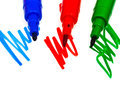Blue green red felt pens tips of close up Royalty Free Stock Photography