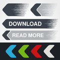 Blue, green, red, white and grey speed arrows. Simple arrow buttons. Pointer on web. Sign of download, next, read more, play, go e Royalty Free Stock Photo