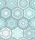 Blue green Tiles Floor Ornament Collection Gorgeous Seamless Patchwork Pattern Royalty Free Stock Photo