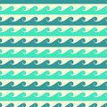 Blue and green vector waves seamless pattern