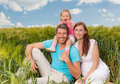 Blue green weekend family smiling three people in Royalty Free Stock Photos
