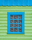 Blue on Green Window Frame Royalty Free Stock Photo