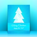 Blue greeting card background with christmas tree this is file of eps format Royalty Free Stock Image