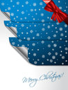 Blue greeting card with stickers shaping christmas tree design bent Royalty Free Stock Images