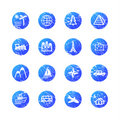 Blue grunge travel icons Royalty Free Stock Photo