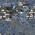 Blue Grungy Painted Brick Wall Seamless Background Stock Photos