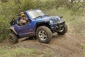 Blue gsmoon seater quad bike bafokeng march crossing obstacle at leroleng x track on march in bafokeng rustenburg south africa Stock Photography