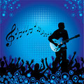 Blue Guitarist Background Royalty Free Stock Photo