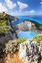 Blue gulf navagio bay in zakynthos island Stock Photo
