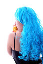 Blue hairs girl and lemon Royalty Free Stock Photo