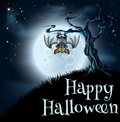 Blue halloween moon bat background a spooky scary scene with vampire hanging from a spooky tree with a full in the Royalty Free Stock Photography