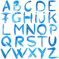 Blue hand-written alphabet Royalty Free Stock Photo