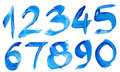 Blue hand-written number Royalty Free Stock Images