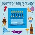 Blue Happy Birthday Royalty Free Stock Photos