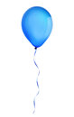 Blue happy holiday air flying balloon isolated on white Royalty Free Stock Photo