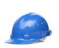 Blue hard hat close up. Royalty Free Stock Photo