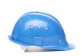 Blue hard hat close up on a white background Stock Photo