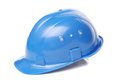 Blue hard hat close up on a white background Stock Photos