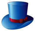A blue hat with a red ribbon illustration of on white background Stock Image
