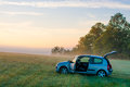 Blue hatchback car Royalty Free Stock Photo
