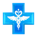 Blue health cross icon isolated Royalty Free Stock Photo