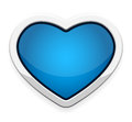 Blue heart button vector illustration Royalty Free Stock Photo