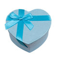Blue heart gift box with a bow Royalty Free Stock Photo