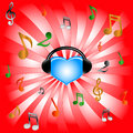 Blue heart and music Royalty Free Stock Image
