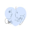 Blue heart with portrait sketch of man and woman. Royalty Free Stock Photo