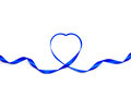 Blue heart ribbon isolated on white background Stock Photos
