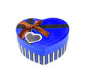 Blue heart shaped box in shape on white background Royalty Free Stock Photography