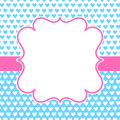 Blue Hearts Pink Frame Valentines Card Royalty Free Stock Photo