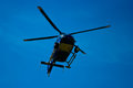 Blue helicopter sky that flies Royalty Free Stock Photo