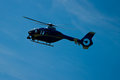 Blue helicopter sky that flies Stock Photography