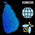 stock image of  Blue Hexagon Sri Lanka Island Map