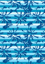 Blue hibiscus stripes in a repeat pattern Royalty Free Stock Photo