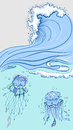 Blue high wave with foam cap. Two jellyfish in sea