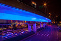 Blue Highway Street Traffic Night Light Trails Central Shanghai Royalty Free Stock Images