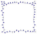Blue holiday lights frame for hanukkah or christmas of festive Stock Photos