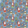 Blue holiday seamless background pattern christmas Stock Photos