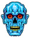 Blue horror face vector illustration of with red eyes Stock Photo