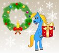 Blue horse with a gift festive christmas background and chaplet from silver fir illustration Stock Photography