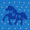 Blue horse silhouette on stars background symbol with many hand drawing vector illustration Stock Images