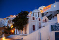 Blue hour at fira village santorini beauituful streets Stock Photography