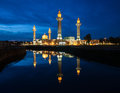 Blue hour and reflection of mosque the sunset at lakeside Stock Photo