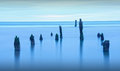 Blue hour sea landscape as old barnacle covered posts pertrude artistically from the ocean water Royalty Free Stock Photography